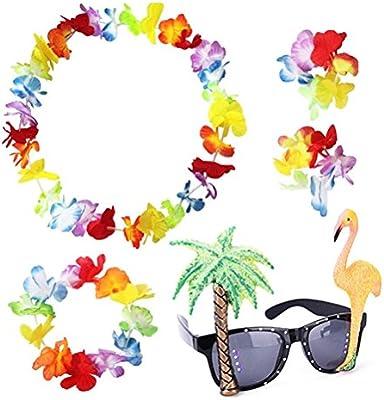 sevenmye Set de 4 guirnaldas de flores hawaianas guirnalda de ...