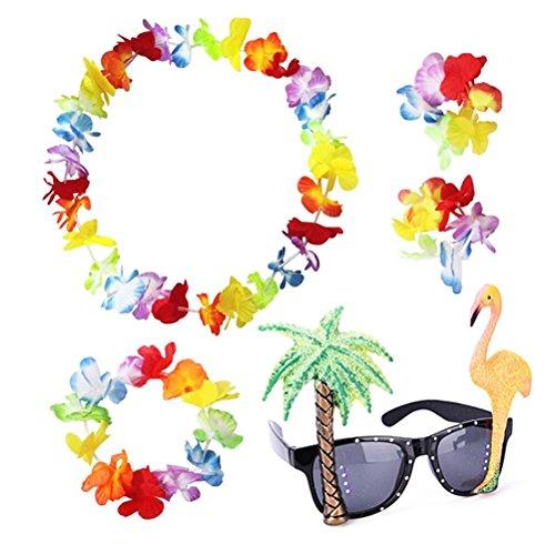 LIGONG Set of 4 Hawaiian Leis Flower Garland Fancy Dress and 1 Flamingo Coconut Trees Sunglasses Party - Sunglasses Wearing Flamingo