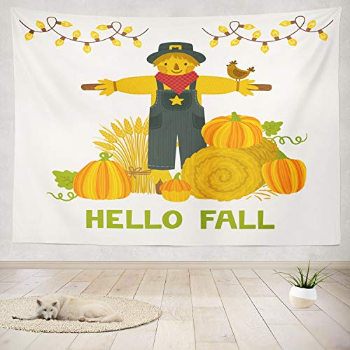 - ONELZ Decor Collection, Autumn Pumpkins Wheat Hello Bright Autumn Invitation Harvest Bedroom Living Room Dorm Wall Hanging Tapestry 50