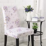 Bar Stools for Sale Near Me ASMGroup Print Stretch Chair Cover for Kitchen Dining Hotel Wedding Party Banquet Chair Bar Hotel Slipcovers Room Decor Purple Flower