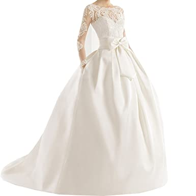 Yuxin Lace Applique Long Sleeves Ball Gown Wedding Dress Satin