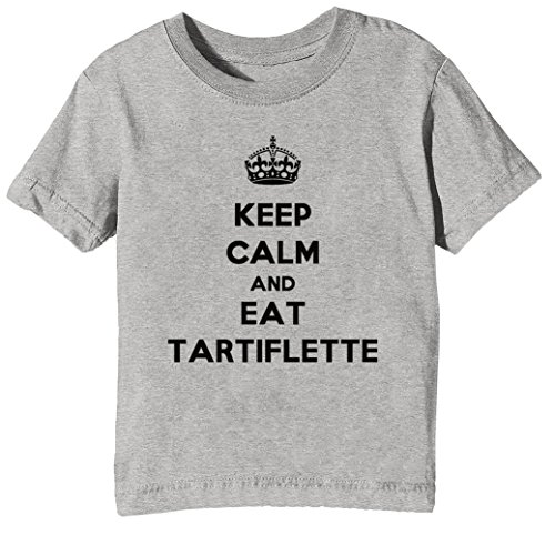Keep Calm and Eat Tartiflette Kids Unisex Boys Girls T-Shirt Grey Tee Crew Neck Short Sleeves X-Large Size XL