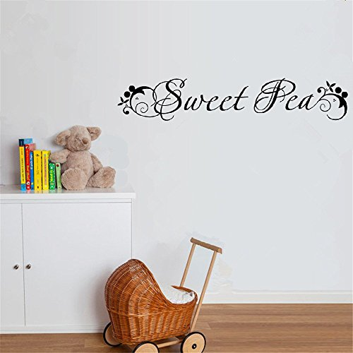 fiupy Vinyl Decal Quote Art Wall Sticker Mirror Decal Sweet Pea Wall Decal | Wall Written