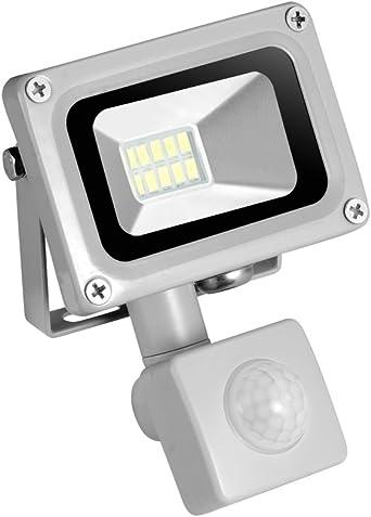 Projecteur LED lumineux IP67 cour aire de jeu jardin Projecteur LED /à d/étecteur de mouvement en plein air Lumi/ère du jour /étanche 50 W 5000 lm Lumi/ère blanche de s/écurit/é pour entrep/ôt