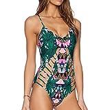 OYMMENEY Women's Push Up Padded Bikini Set Summer Beach Swimwear,XL=US(6-8),Green1
