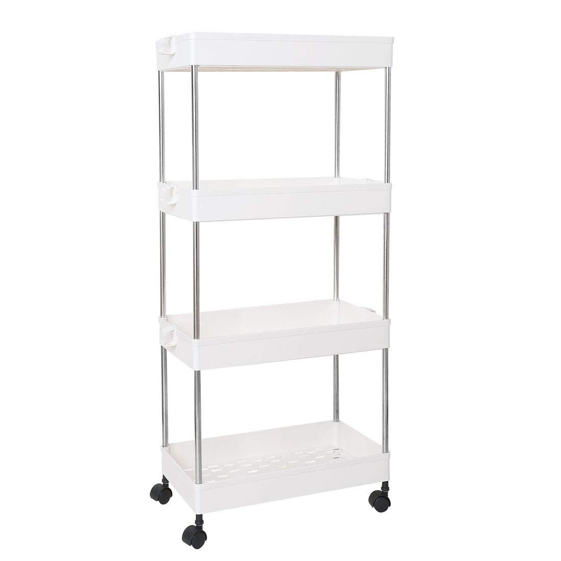 White 4 Tiers uxcell® 4 Tiers Storage Rolling Cart with Wheels,Slide Out Storage Organizer Rack Shelf Tower for Laundry Bathroom Kitchen, Pink