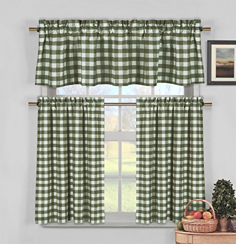 - Sage Green 3 Piece Gingham Check Kitchen Window Curtain Set: Plaid, Cotton Rich, 1 Valance, 2 Tier Panels (Matching 3 Piece Window Curtain Set)