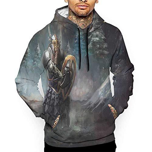 Hoodies SweatshirtAutumn Winter Fantasy,Medival Dwarf Knight in Gothic Shield at Battle Place Winter Illustration,Grey Light Blue Gold Sweatshirt Blanket ()
