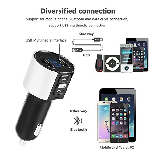 Bluetooth FM Transmitter, Car Charger, Wireless Bluetooth FM Radio Adapter Car Kit FM Transmitter Radio Adapter and MP3 Music Player Control 3.4A Car Charger, Dual USB Ports Charge C26S by Foneda (Image #3)