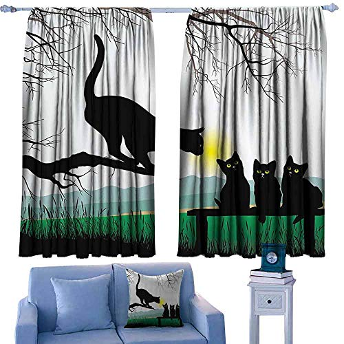 DONEECKL Novel Curtains Cat Mother Cat on Tree Branch and Baby Kittens in Park Best Friends I Love My Kitty Graphic Light Blocking Drapes with Liner W72 xL72 Multi