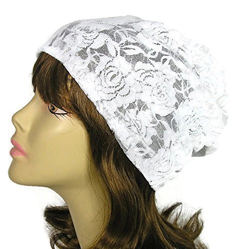 White Lace Slouchy Beanie Lightweight Summer Slouchy Beanie for Women
