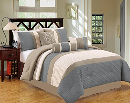 Closeout 7 Piece Bed / Comforter in a Bag (Cal King, Blue / Grey)