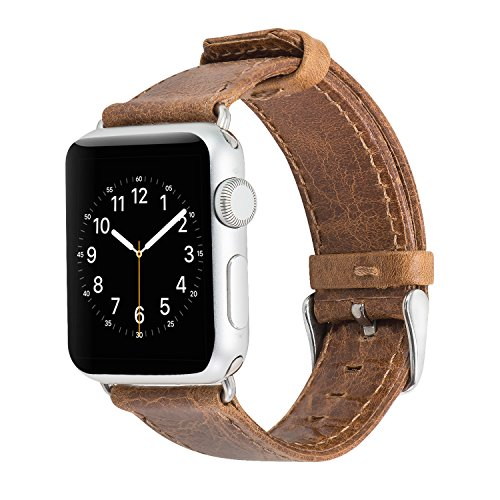 Apple Watch Band 38mm Light Brown, SUNKONG Brief Style Crazy Horse Luxury Leather Apple Watch Strap Replacement for 42mm Apple Watch Series 3 Series 2 Series 5 by SUNKONG