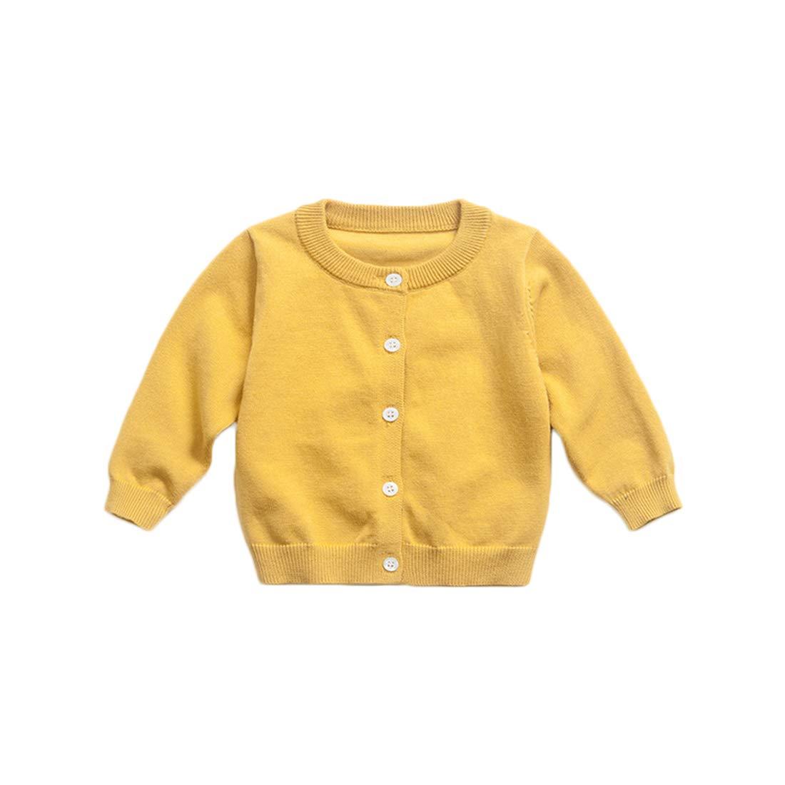 PanpanBox Toddler Cardigan Plain Sweater Jacket Long Sleeved Blouse Basic Spring Autumn Tops Baby Girl Boy Gilet Age 1-6 Years Old