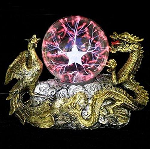 New!! Gold Dragon Phoenix Base Plasma Ball Magic Lighting Sphere Tesla - Solid Gold Hk