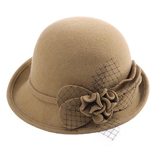 SIGGI 100% Wool Felt Cloche Hat For Women 1920s Vintage Derby Tea Party Bucket Bowler Hat Winter (Bucket Wool Hat)