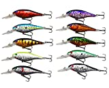 Jasmine 10pcs/lot Life-like Plastic Minnow Fishing Lures Baits Deep Diver Sinking Bass Crankbaits