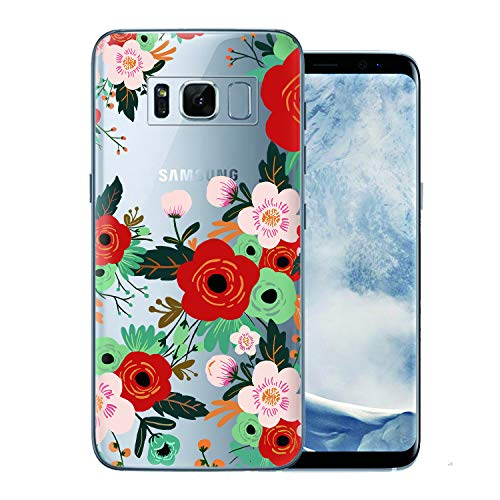 Case Compatible with Galaxy S8 Cocomong Floral Flower Pattern Design Clear Case for Samsung Galaxy S8 Flexible TPU Anti-Scratch Bumper Protection Shockproof Seamless Roses Phone Cover for Girls Women