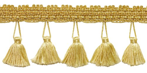 2.5 Inch Tassel Fringe Trim, Style# ETF Color: LIGHT GOLD - B7, Sold By the Yard