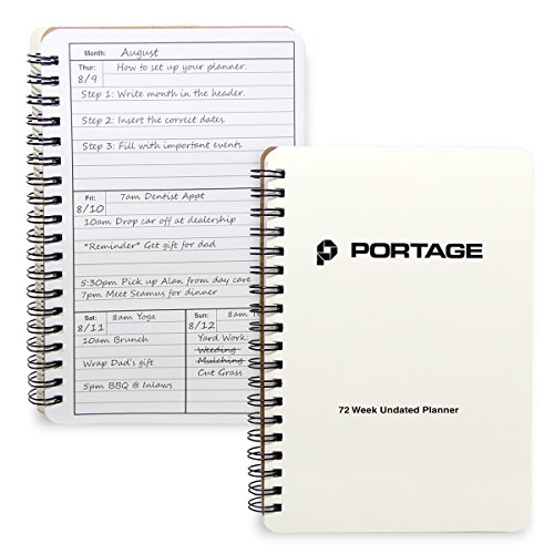- Portage Notebooks 72 Week Undated Weekly Planner - Weekly Planner Helps You to Stay Organized with Weekly Tasks, Events and Time Management
