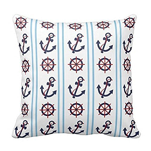 Blue Sailor Nautical Anchors Wheels Throw 18x18Inch pillow Case (Vintage Black Sailor Girl Nose)