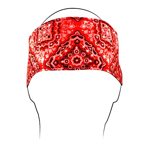 Zanheadgear HBV106 Cotton 'Paisley' Design Headband with Closure (Red, One Size)