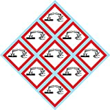 """GHS Corrosion Pictogram 2"""" W x 2"""" H Decal, Label, kit OSHA Compliant, Vinyl Sticker, Sheet, 9 of The Decals per Sheet"""