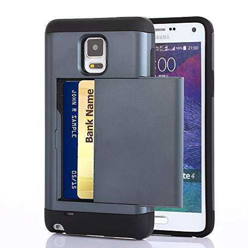 Galaxy Note 4 Case, CaseTop [Easy Card Access] Sliding Back Door Card Holder Wallet Case - Hybrid TPU PC Cover - For Samsung Galaxy Note 4, Navy Blue (Sliding Door Cases)