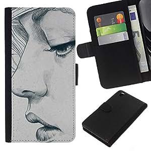 EJOY---La carpeta del tirón la caja de cuero de alta calidad de la PU Caso protector / HTC DESIRE 816 / --la mujer del retrato del bosquejo del arte depresión