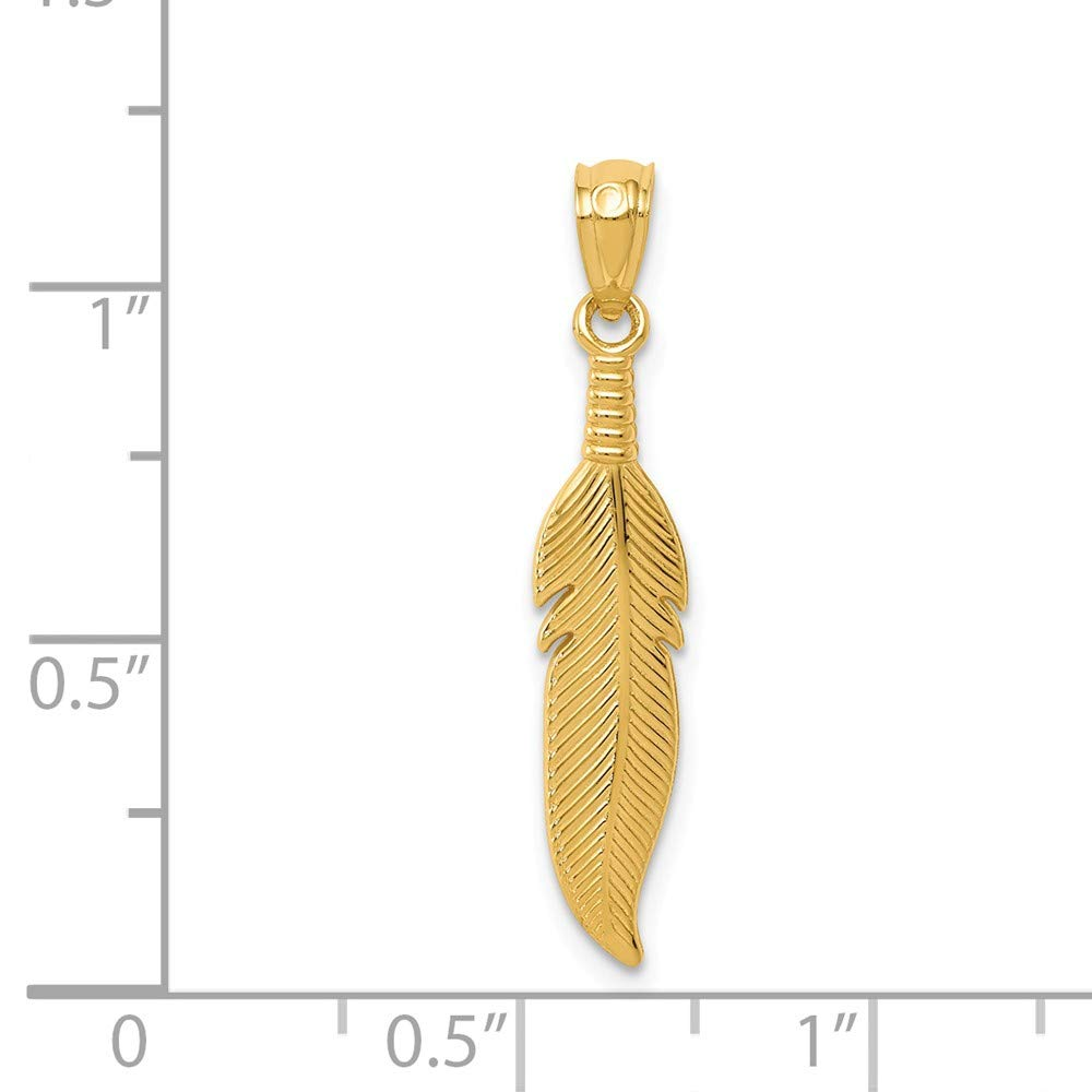 14k Yellow Gold Polished Feather Pendant