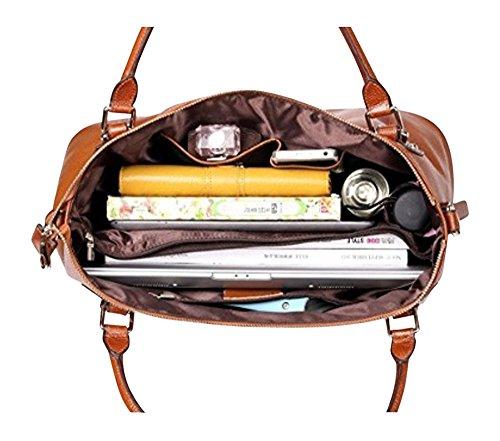 Large Side Outside or Shoulder Leather Bag Tote Pocket Brown Zipper Soft with Vintage Genuine Women's CqBYq