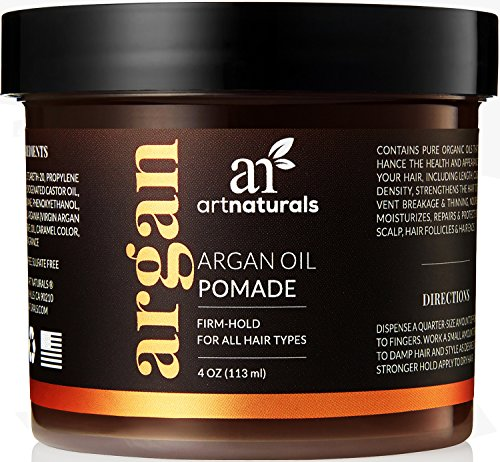 Moisturizing Pomade (ArtNaturals Professional Argan Oil Pomade - (4 Oz / 113g) - Strong Hold for All Hair Types – Natural Hair Styling Formula – Men and Women – Made in USA – Thick, Straight and Curly Hair)