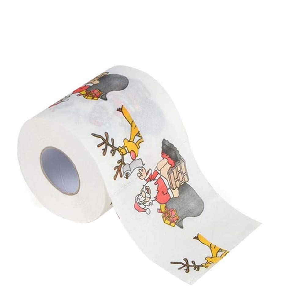 Carremark Santa Merry Christmas Toilet Roll Paper Table Living Room Bathroom Fabric, 1