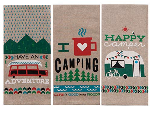 Design Tea Towel - Kay Dee Designs Camping Adventures Chambray Tea Towel Set of 3: Bundle Designs Include: Have an Adventure - I Heart Camping - Happy Camper