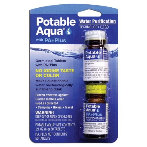 Potable Aqua Water Purification Tablets with PA Plus neutralizing tablets - Portable Drinking Water Treatment for Camping, Emergency Preparedness, Hurricanes, Storms, Survival, and Travel (50 Tablets) (Filtration Potable Water)