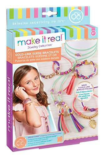 - Make It Real Gold Link Suede Bracelets. DIY Suede Bracelet & Choker Making Kit for Girls. Arts and Crafts Kit to Design and Create Unique Tween Jewelry with Faux Suede, Beads, Gold Pieces & Charms