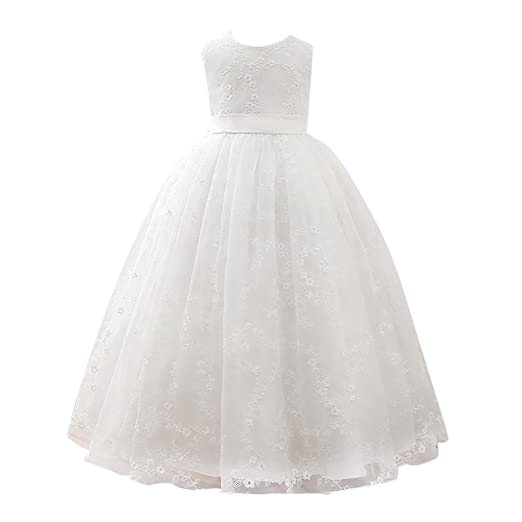 27588c4f0491 Amazon.com  Zhuhaitf Kids Big Girls Dress Embroidery Flowers Princess Party  Wedding Dresses  Clothing