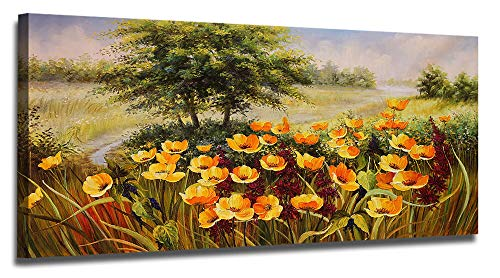 Ardemy Canvas Wall Art Bloosom Yellow Flowers Poppy Artwork Painting Prints Modern Nature Landscape, Large Size Picture Wooden Framed for Living Room Bedroom Kitchen Office Home Decorations - Artwork Poppies