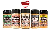 Bacon Salt Sampler Gift Set (5 Pack + Sticker) - Original, Hickory, Cheddar, Peppered & Jalapeno Bacon Flavored Salts Variety + Bacon Heart Sticker