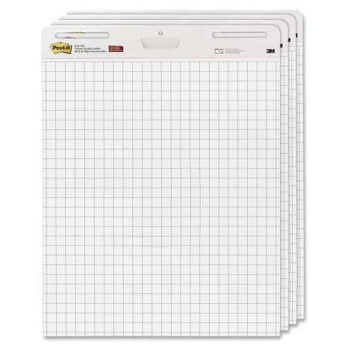 Wholesale CASE of 2 - 3M Post-it Faint Grid Easel Pad-Easel Pad,Self-stick,Grid,30 Sheets,25''x30'',4/CT,White