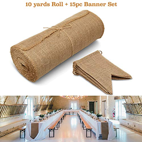 Burlap Table Runner Roll and 15pc Banner Party Signs Decor Set - Burlapfabric For Rustic Decorations Farmhouse Theme Wedding, Baby Shower, Kitchen, Coffee Tablerunner, Cut 48,72,90 or 108 Inch Runners -