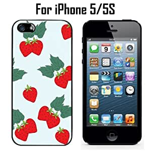 Cute Strawberry Pattern Custom Case/ Cover/Skin *NEW* Case for Apple iPhone 5/5S - Black - Rubber Case (Ships from CA) Custom Protective Case , Design Case-ATT Verizon T-mobile Sprint ,Friendly Packaging - Slim Case by icecream design