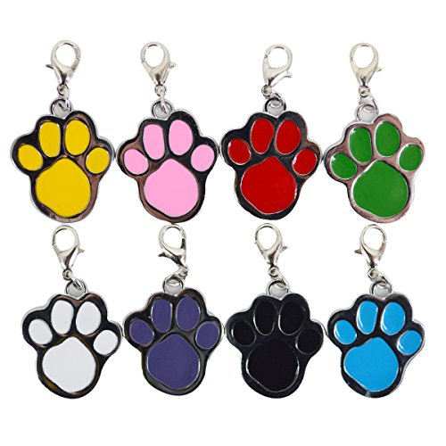Budd ID Tags Glitter Paw Pet ID Tags Custom Personalized for Dog & Cat Paw Print Tag (Multi-colored, 8 Colors)