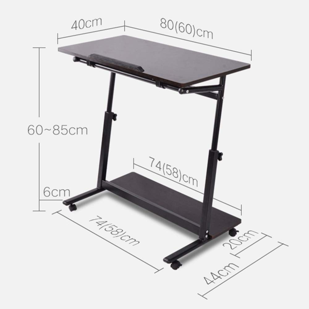 LIULIFE Mobile Computer Desk On Wheels, Writing Desk, PC Table for Small Spaces, Workstation for Home Office, Easy Assembly,Beige-6040cm by LIULIFE (Image #7)