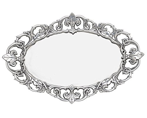 Arthur Court Fleur-De-Lis 20-Inch Oval Serving Tray (Pewter Bread Tray)
