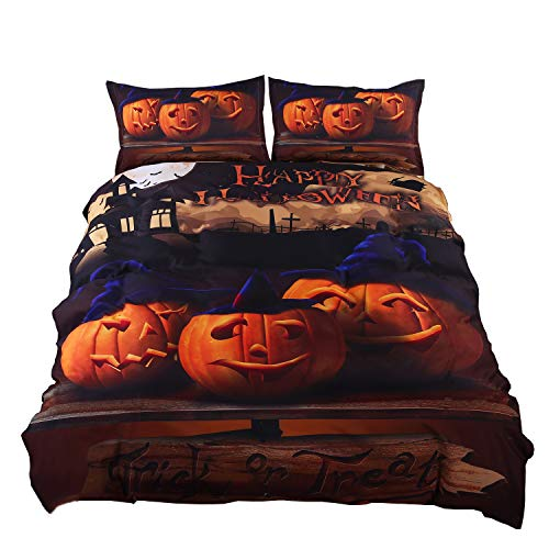 Halloween Bedding Sets Store (KTLRR Halloween Bedding Set Gift 3D Print Zombies Duvet Cover Set (no comforter), Twin/Full/Queen/King Size 4-Piece Festival Decoration Bedding (Queen,)