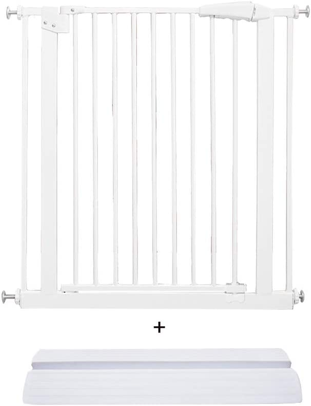 AGLZWY 階段の門 ペット ベビーセーフティフェンス 間仕切り 自動ドアを閉める 保護 階段に適合 通路 ベッドルーム、高さ78cm (Color : White, Size : 227-236.9cm)
