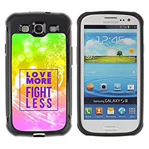Suave TPU GEL Carcasa Funda Silicona Blando Estuche Caso de protección (para) Samsung Galaxy S3 III I9300 / CECELL Phone case / / BIBLE Love More - Fight Less /