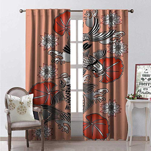 Hengshu Koi Fish Window Curtain Fabric Sacred Carp in Traditional Japanese Ink Style Lilles Classic Artwork Drapes for Living Room W108 x L108 Coral Black White