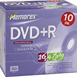 Memorex DVD+R 16x 4.7GB 10 Pack In Jewel Cases